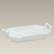"6973 10"" Handled Serving Tray w/ Basket Weave"